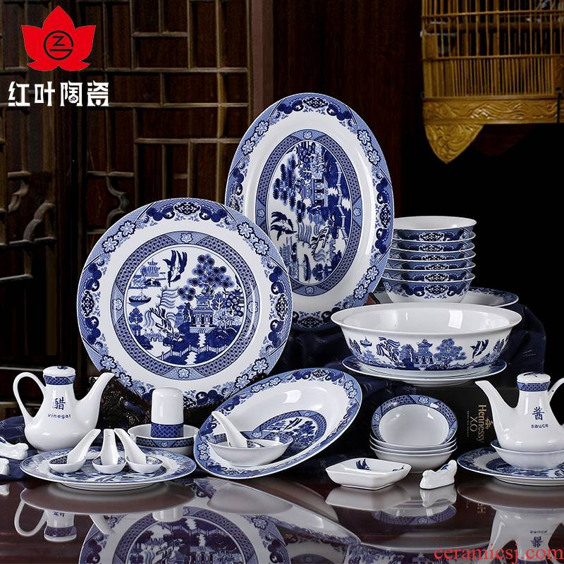 Red porcelain jingdezhen Chinese dishes dish suits for glair blue and white porcelain high temperature 62 head of classical gardens