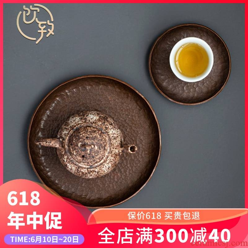 Ultimately responds pure manual all round copper pot bearing work blister copper plate hammer tea tray saucer Japanese tea pot
