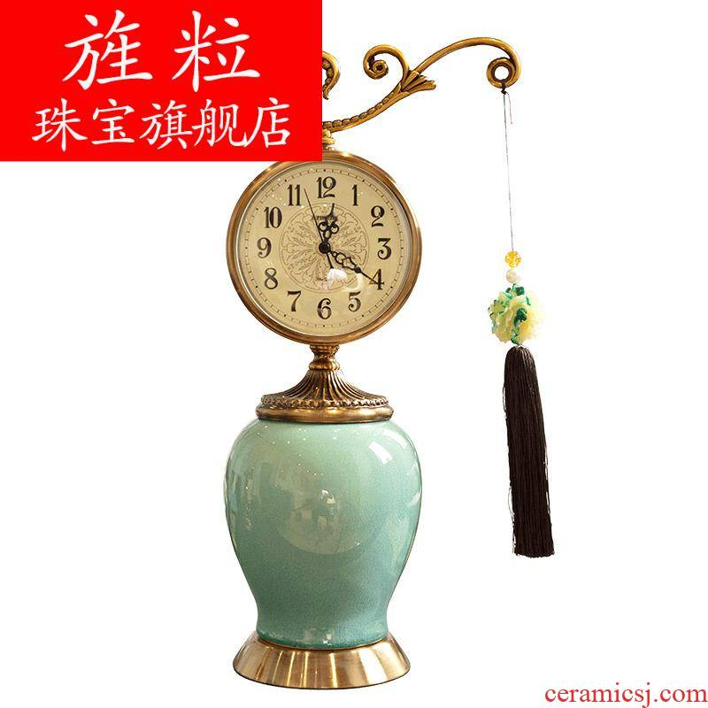 Q18 new Chinese creative ceramic clock furnishing articles European sitting room the bedroom decorate desk clock new classical household decoration