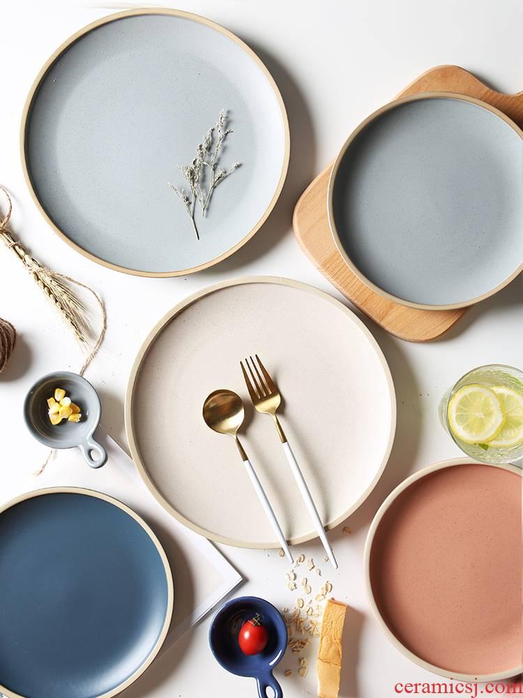 "Creative dishes northern wind ceramic household vegetable dish plates steak to western - style food tableware flat web celebrity 8 ""breakfast"