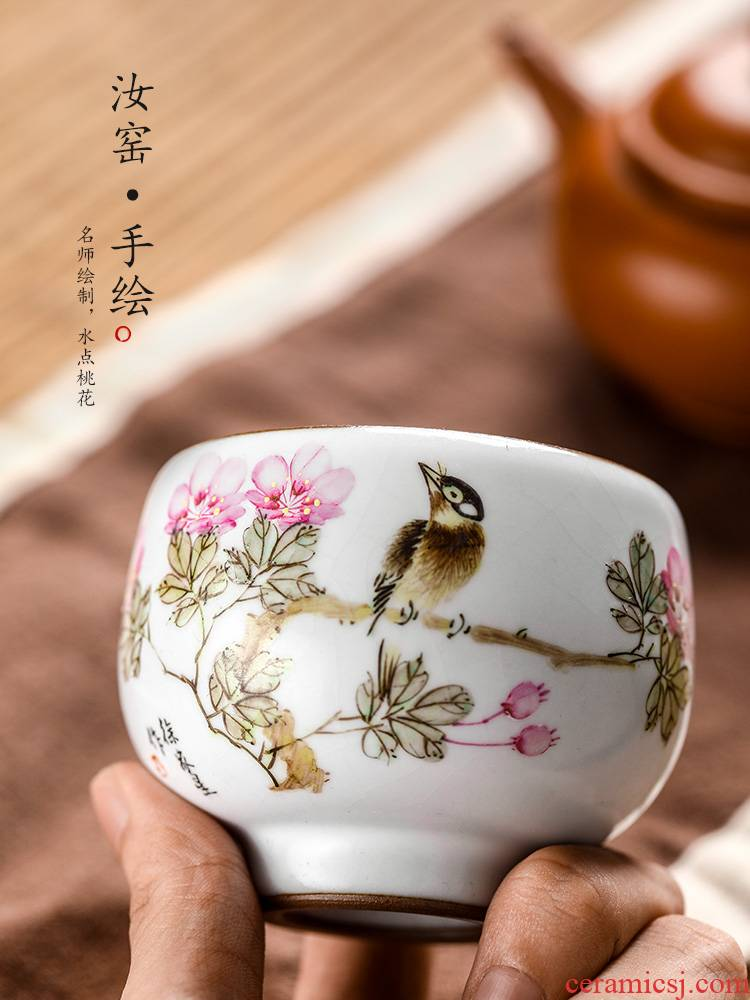 Jingdezhen Xu Jiaxing hand - made peach blossom put water point high - end master cup single CPU kung fu ceramic sample tea cup tea cups