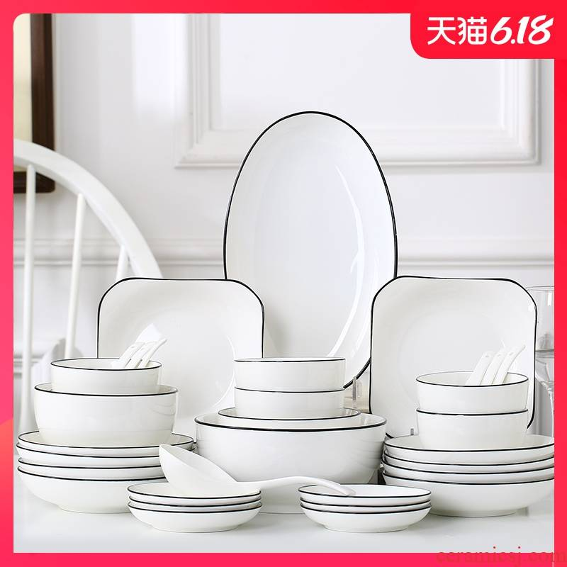 46 a Garland Nordic contracted household dishes suit creative practical tableware ceramic bowl dish combination 10 people