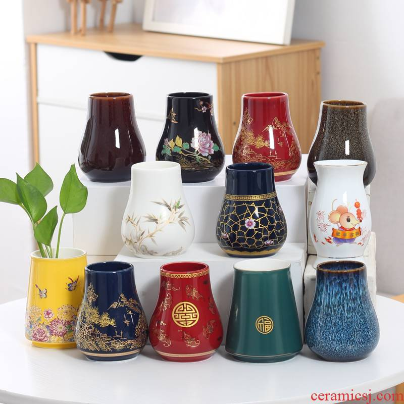 Lucky bamboo orchid ceramic vase without water raise grass cooper Kong Hua flowerpot in hydroponic money plant vase desktop furnishing articles