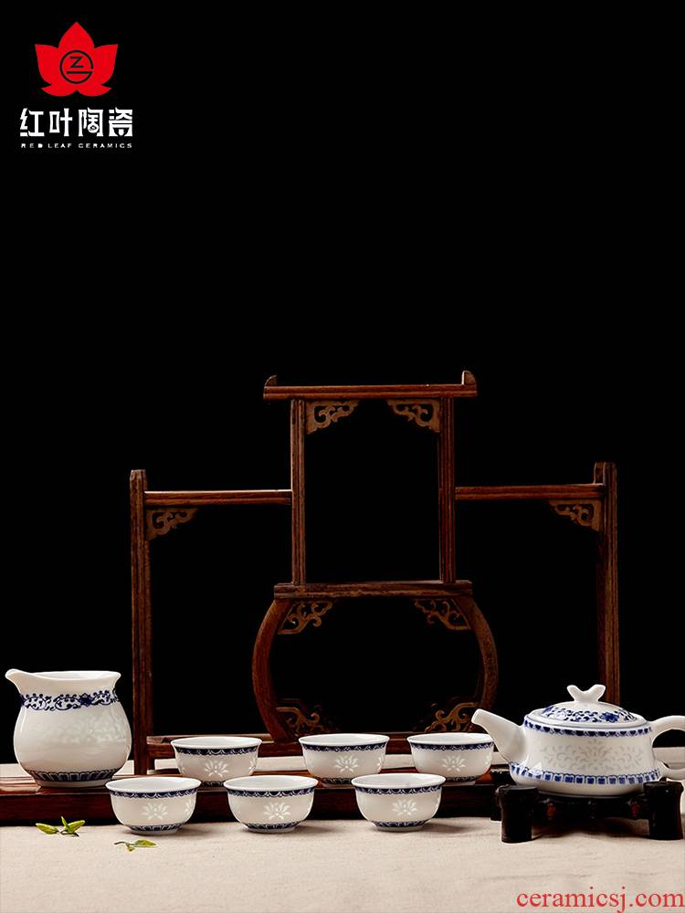 Red porcelain jingdezhen porcelain of a complete set of kung fu tea set the teapot teacup gift porcelain household and riches and honour
