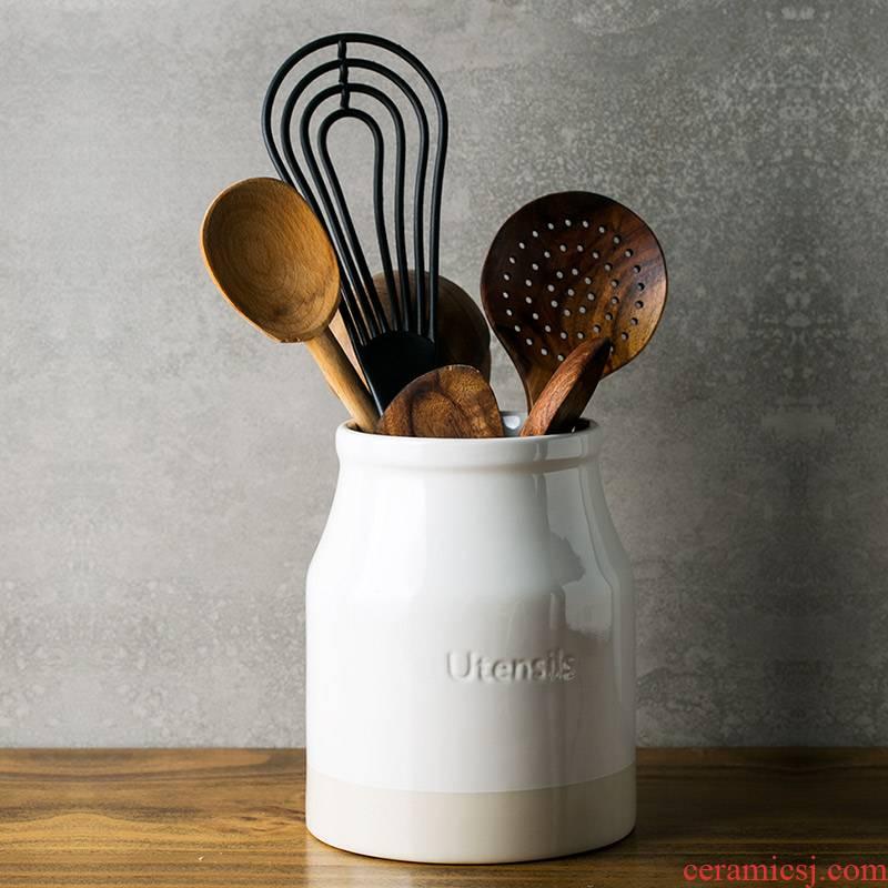 And European ceramics receive a jar of chopsticks spoon the receive tube creative chopsticks tableware receive a box of kitchen storage tank