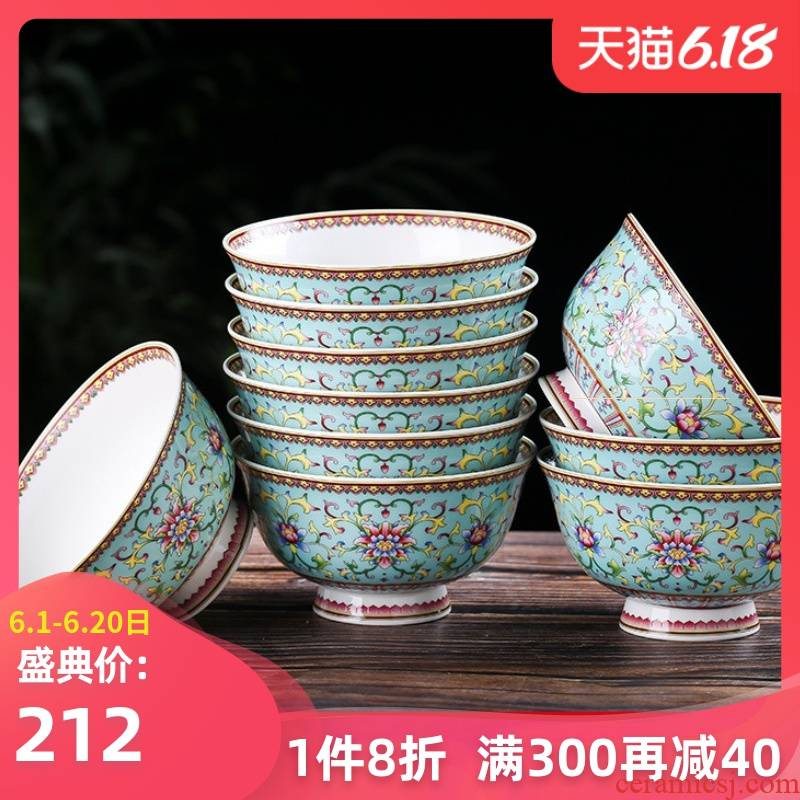 10 installs JingDe ceramic bowl only home to eat five inches tall foot against the hot bowl of rice ipads China longevity bowl of bowls