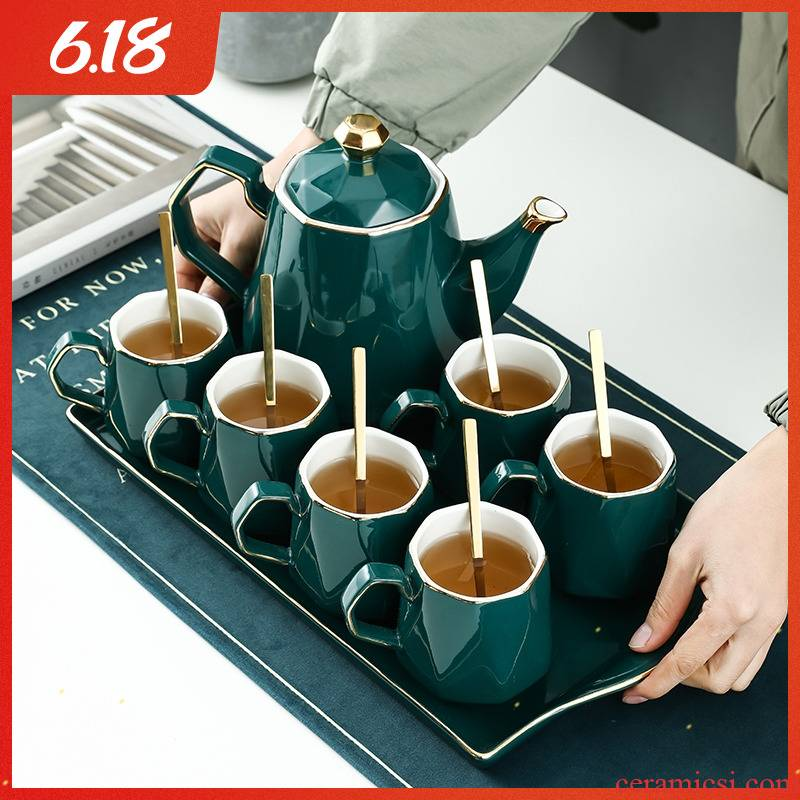 Nordic home with tea cup set cup light flower ceramic water key-2 luxury glass teapot cup has the gift of the sitting room