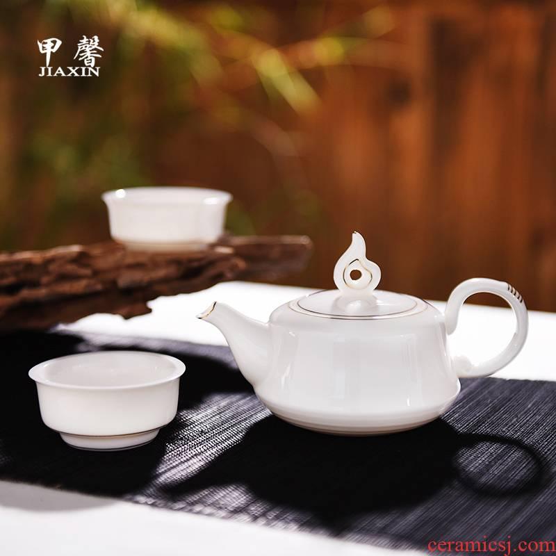 JiaXin white porcelain cloud wing a pot of two cups of dehua white ceramic tea set high white porcelain ceramic teapot kung fu tea set