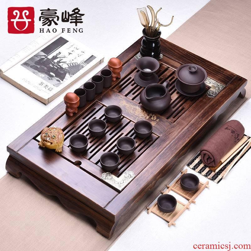 HaoFeng burn wood real wood tea set a complete set of violet arenaceous your up kung fu tea set to burn wood tea tray