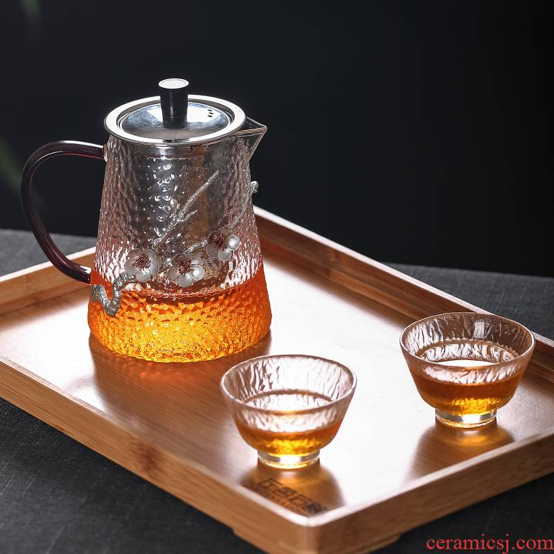Name Plum blossom put hammer with tin glass tea is high temperature resistant stainless steel filter to thicken the teapot tea set