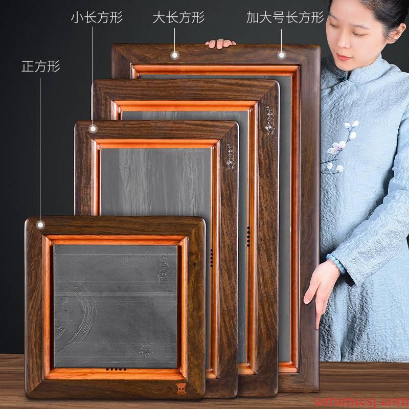 It still fang ebony wood ground contracted tablet sharply stone tea saucer large kung fu tea tea
