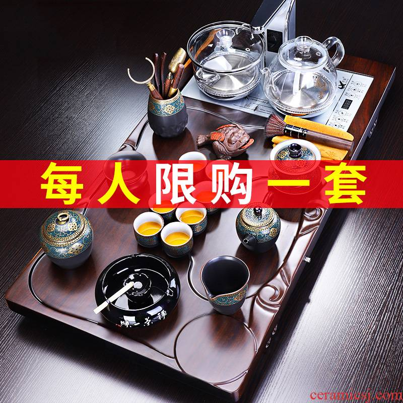 Tang Feng kung fu tea set suit household integration of a complete set of automatic tea tray tea taking office ebony wood tea table