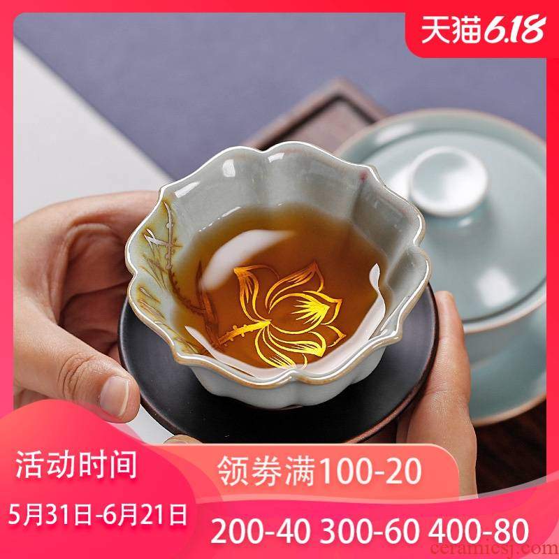 Hand - made anemones your up individual cups sliced open cups can raise large porcelain tea master cup of pure manual single CPU