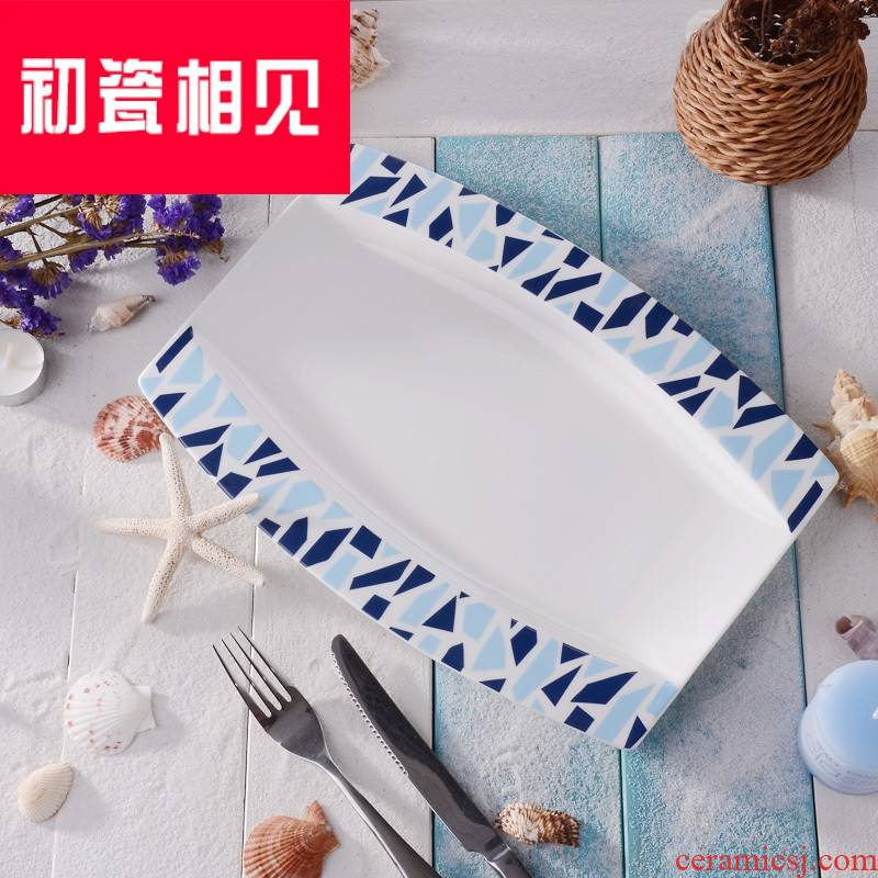 Porcelain meet each other at the beginning of the Mediterranean amorous feelings of simple ipads China deeply fish dish rectangular large steamed dishes microwave ceramic plate