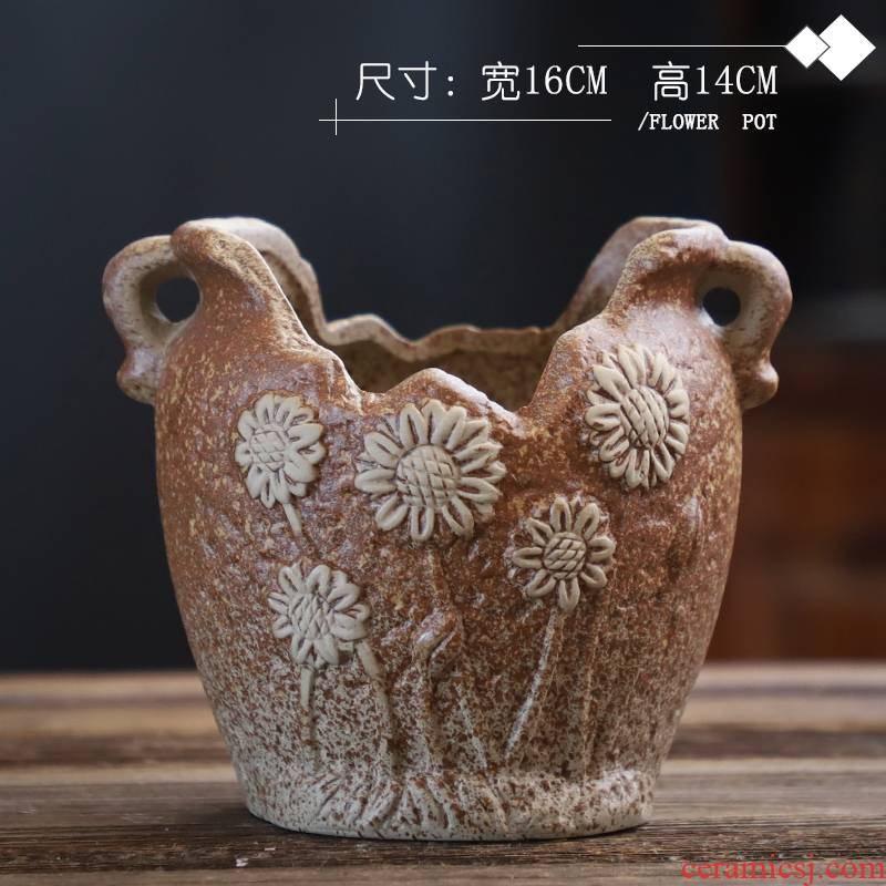 Coarse pottery flowerpot old running the breathable creative move gap high pot pot large fleshy plant special offer a clearance, fleshy