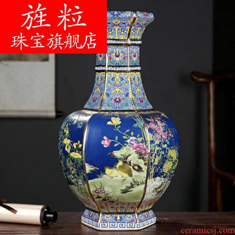 Q19 jingdezhen ceramics antique vase imitation qianlong year classical furnishing articles flower arrangement sitting room decoration process