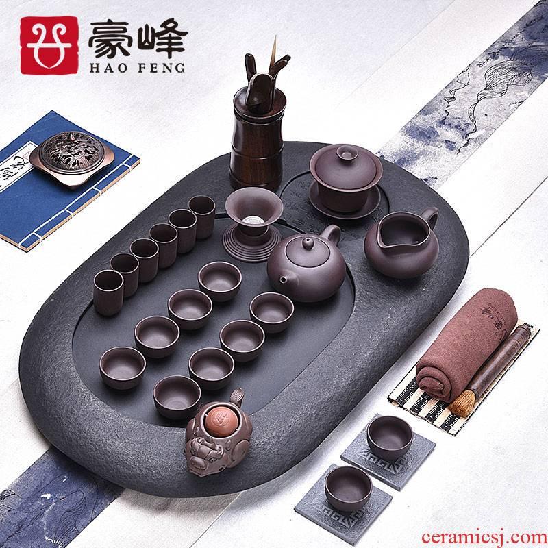 HaoFeng sharply stone tea tray tea saucer set a complete set of kung fu tea black stone, stone, stone