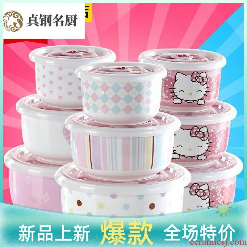 Loading of a complete set of ipads China preservation bowl 3 piece heat sealed ceramic tableware special microwave last lunch box