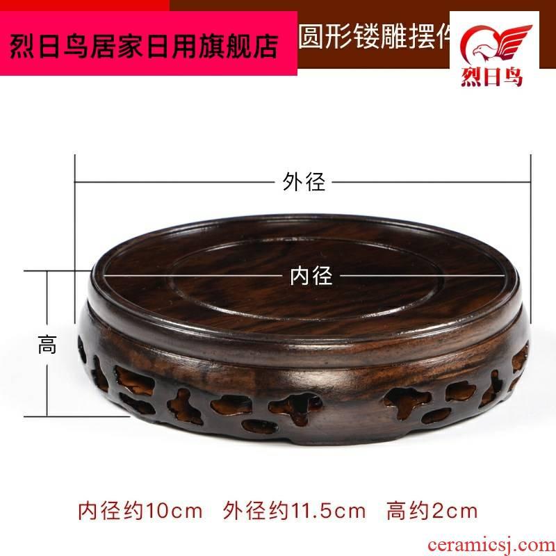 Solid wooden vase base the teapot tea set frame ebony pot pad teacup pad it bearer with tea