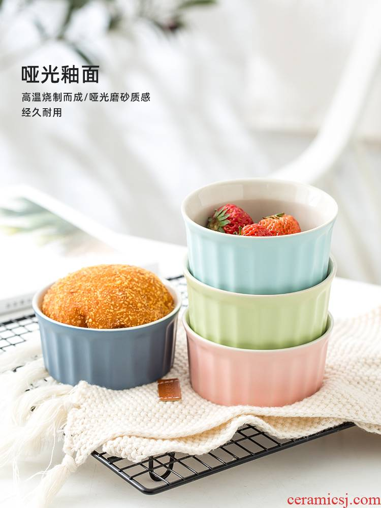 Shu she baked ceramic creative double peel milk dessert bowl, lovely steamed pudding cup cake mold baking dish bowl of oven