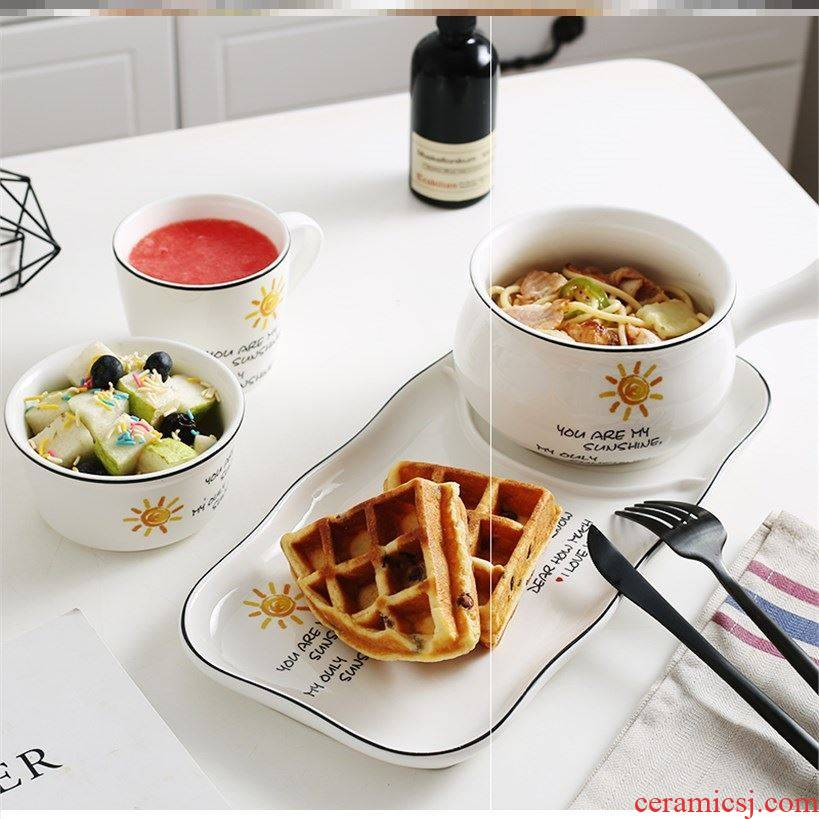 The Nordic breakfast dishes suit combination with handle bowl of breakfast table suit The irregular hot breakfast tray