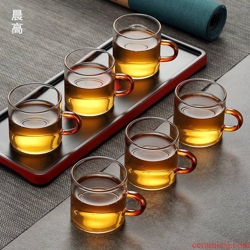 Kung fu tea cups suit household morning is high with the transparent glass cup only tea tea tea