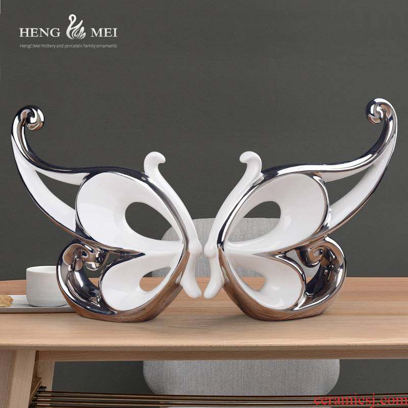 Contracted and I household adornment ornament sitting room porch silver butterfly furnishing articles furnishing articles creative ceramics wine rack