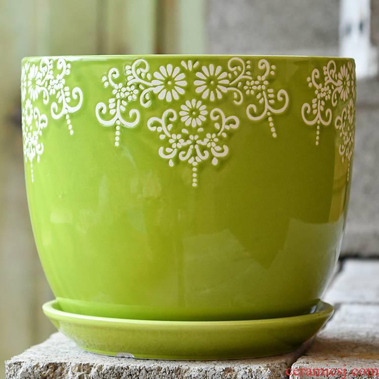 Flowerpot ceramic queen a clearance sale king trumpet fleshy flower pot sitting room home money plant bracketplant tray