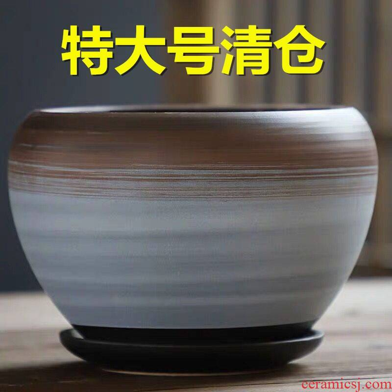 Flowerpot ceramic large special offer a clearance household with extra large flower pot tray was creative move money plant bracketplant, fleshy