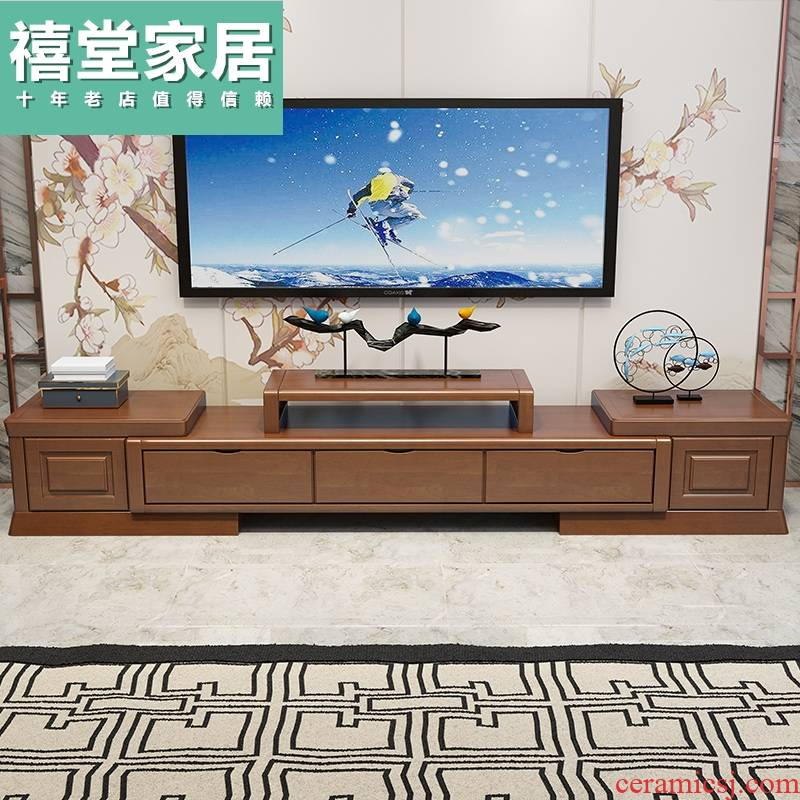 New Chinese style is I and contracted solid wood tea table TV ark combination scalable bedroom small store content ark, sitting room furniture