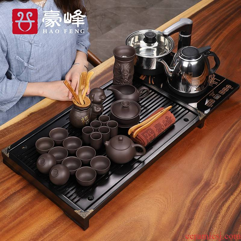 HaoFeng kunfu tea table kettle body electric magnetic furnace solid wood tea tray was purple sand tea set gift boxes