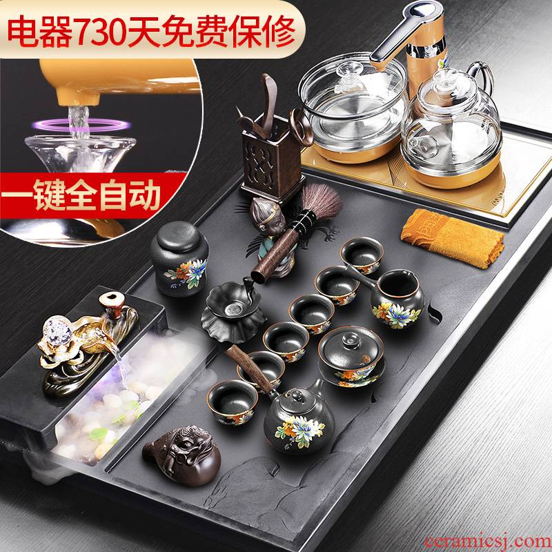 It still fang violet arenaceous kung fu tea tea set home sharply stone tea tray was solid wood tea pot of tea tea cup