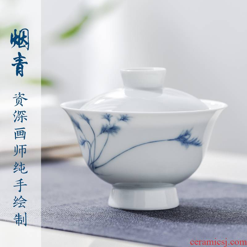 The Escape this hall jingdezhen blue and white porcelain tureen suits for three cups to make tea cup pure manual household kung fu tea set
