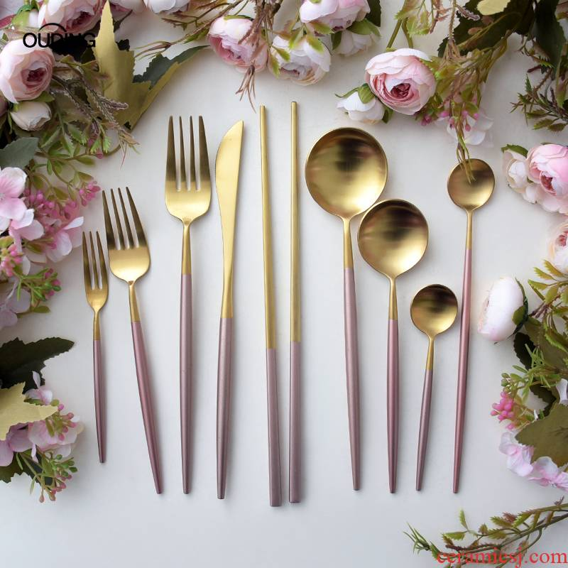 OUDING cherry blossom put pink gold knife and the fork INS steak knife and fork suit household fork spoon stainless steel western tableware