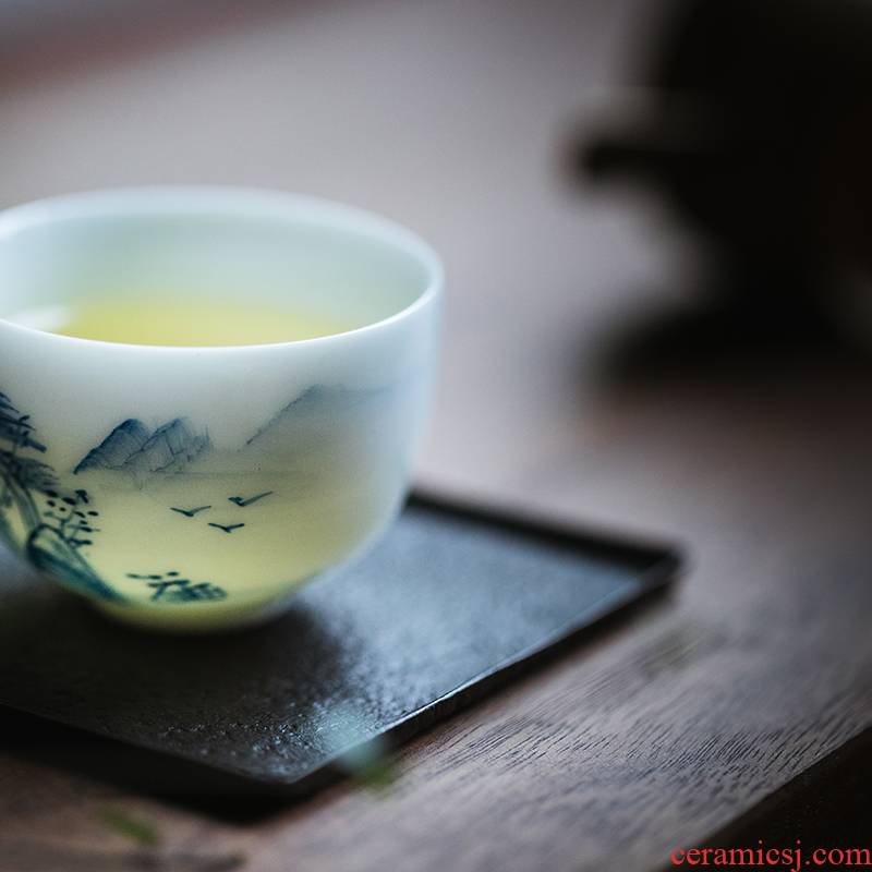 Vegetation school hand under the glaze color white porcelain cup sample tea cup, small cup master cup ceramic kung fu tea cup bowl