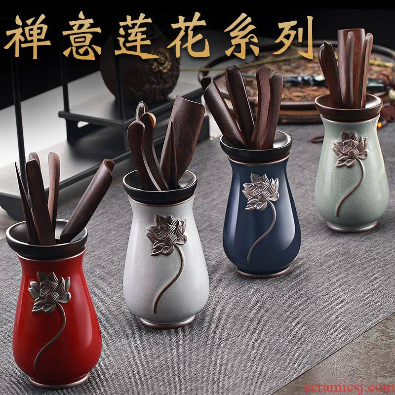 Morning high ebony kung fu tea tea six gentleman 's pure copper fittings brush pot clip set tea zen