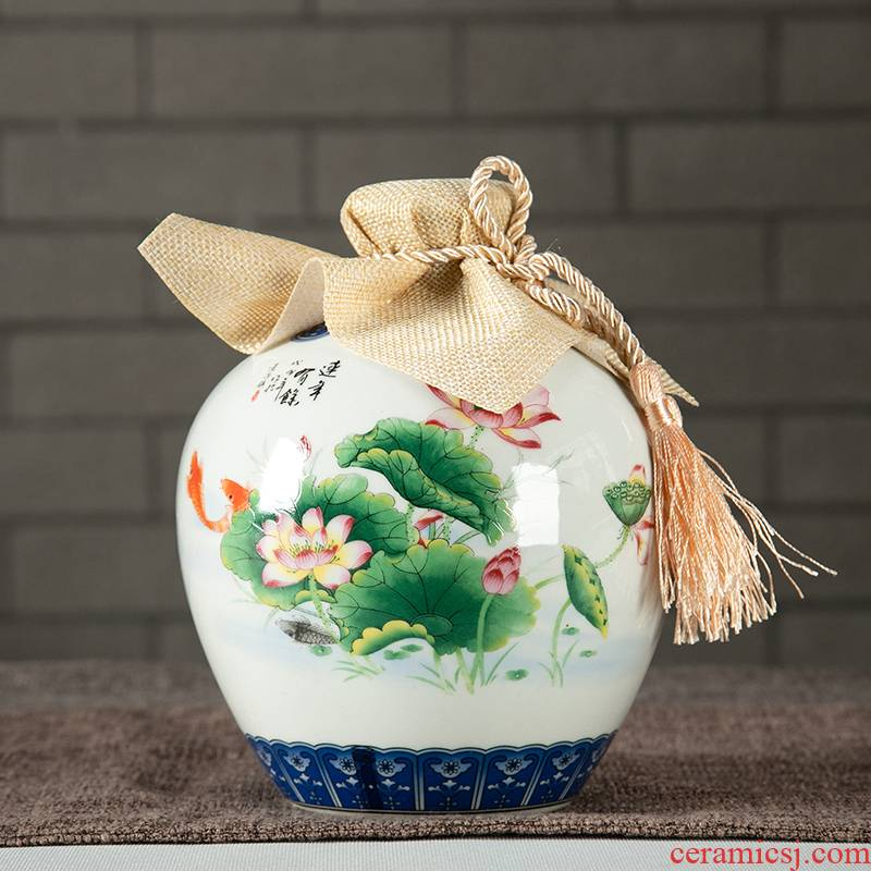 Jingdezhen ceramic jar 1/2/3/5/10 jin an empty bottle seal has successively more than hip mercifully wine
