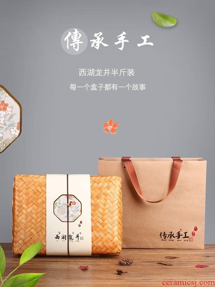 2019 heritage west lake bamboo has craft gift box aneroid general longjing tea longjing tea, green tea gift boxes the empty boxes