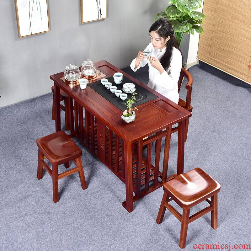 Home tea tea set hua limu tea table and chairs the son of new Chinese style household solid wood tea sets tea tray was kung fu tea table B,