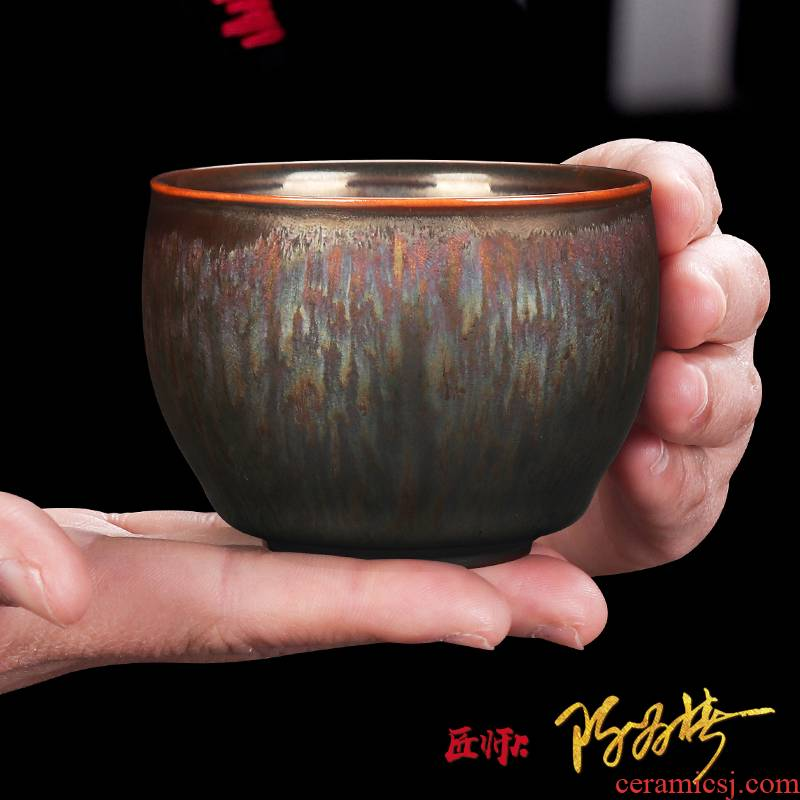 The Master artisan fairy Chen Weichun famous building lamp cup Master cup single CPU ceramic household pure manual oil - lamp can a cup of tea