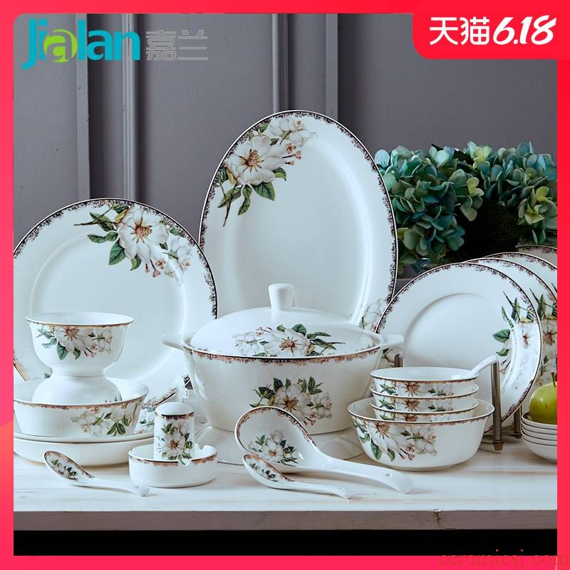 Garland of household ceramic dishes suit rice bowls of tangshan ipads porcelain tableware suit rainbow such as bowl bowl of soup can customize