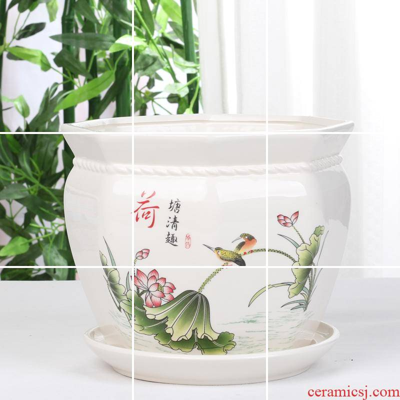 Octagonal indoor ceramic flower POTS with tray balcony contracted and other kinds of green, the plants and flowers, fashion flower pot