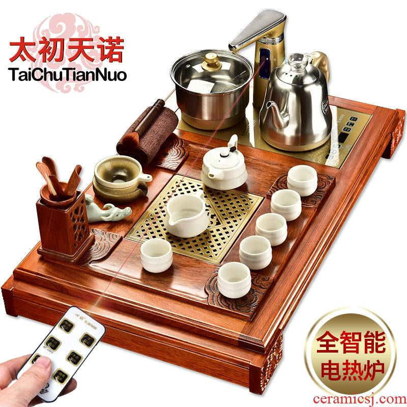 The beginning day, a whole set of violet arenaceous kung fu tea set office with a family spend pear wood tea tray automatic furnace