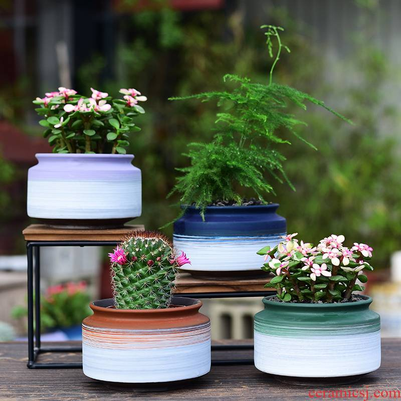 Ceramic contracted household flower pot in basin of celestial being creative office, green plant, fleshy meat meat plant purple sand flowerpot