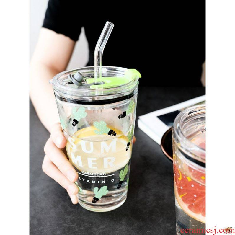 Pearl milk tea cup portable green transparent glass bottles of juice cup with cover with scale