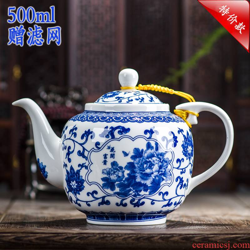 Ceramic teapot single pot of belt filter large household utensils suit under the glaze color of blue and white porcelain of jingdezhen porcelain