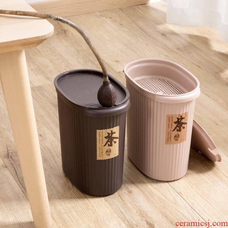 Occupy the home of tea tea bucket of tea accessories plastic barrels of household wastewater discharge bucket dross barrels bin detong