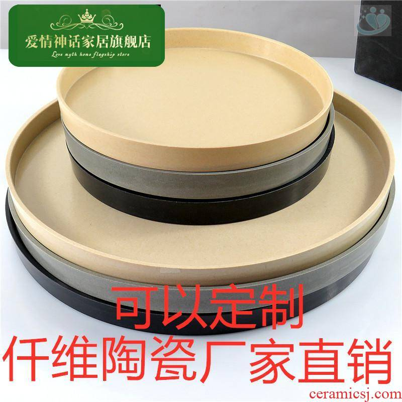 Ceramic flower pot tray was round the bottom green plant pot plastic faceplate resin base chassis water pans