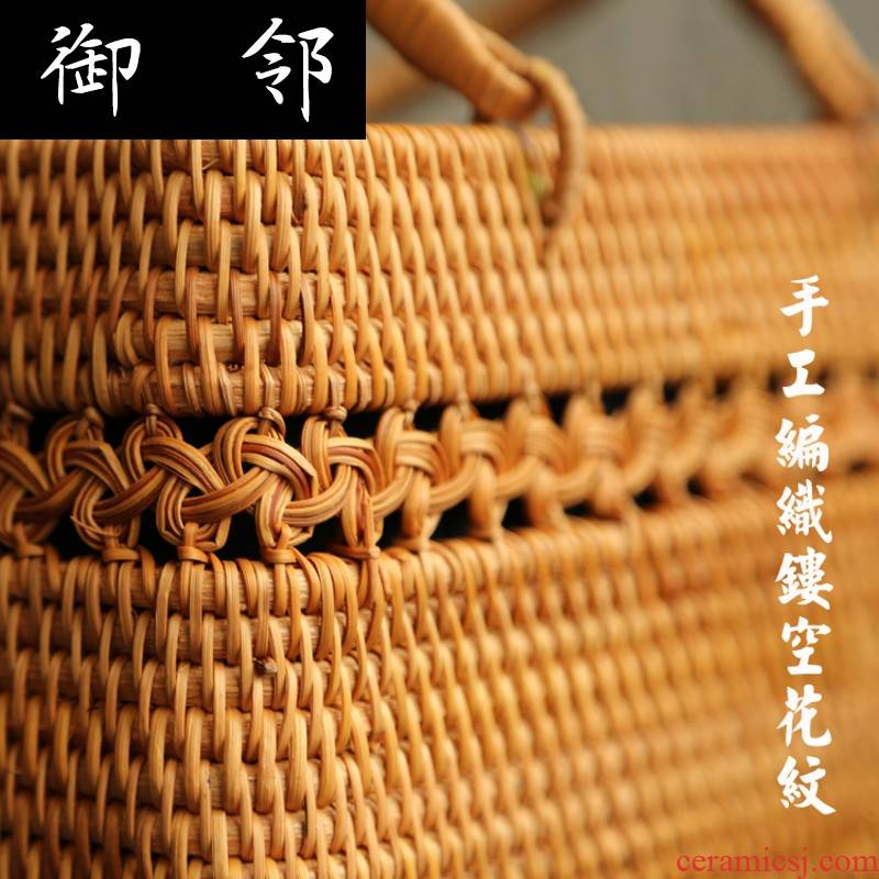 Ct one the cane top service up handbag hollow - out decorative pattern rattan cane straw vega packages in cotton and linen lining tea set to receive bulk