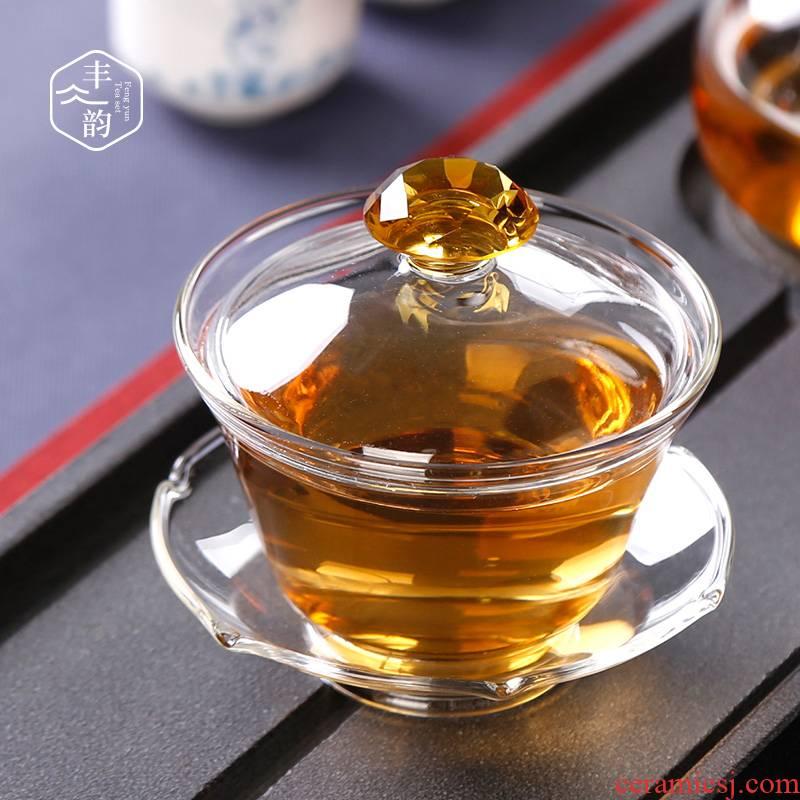 Tureen thickening heat - resistant glass tea cup three to suit individual transparent bowl large Japanese tea kungfu tea set